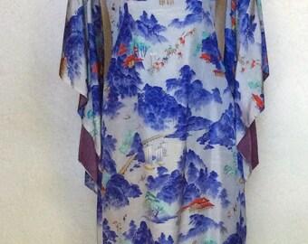 1940's McInerry's of Honolulu Hawaiian Pake Muu Silky Rayon Dress M