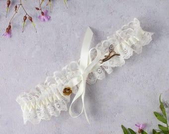 Gold trim Brigitte Tie Wedding Garter