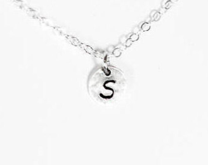 1/4 inch Sterling Silver Disc Initial Necklace