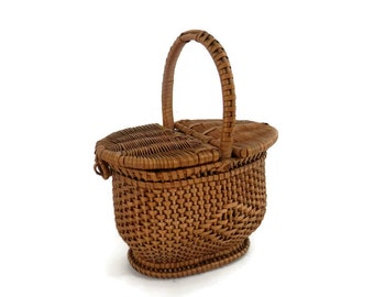 Miniature Picnic Basket Vintage Chinese Woven Straw with Double Hinged Lid Traditional