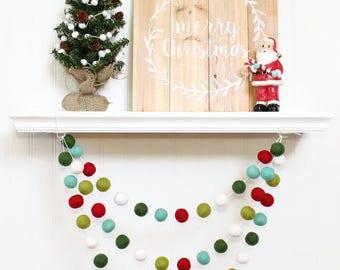 Retro Christmas Felt Ball Garland, Pom Pom Garland, Nursery Decor, Bunting Banner, Party Decor, Holiday, Christmas