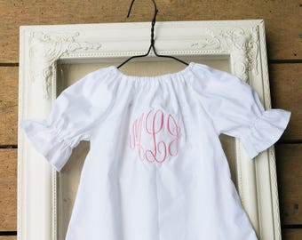 Monogrammed coming home outfit, white baby dress, master circle monogram, baby girls shower gift, long sleeve coming home outfit, gown