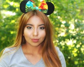Hawaiian Mouse Ears Headband. Moana Mouse Ears Headband. Tropical Mouse Ears Headband. Disney Headband. One Size Fits Most.