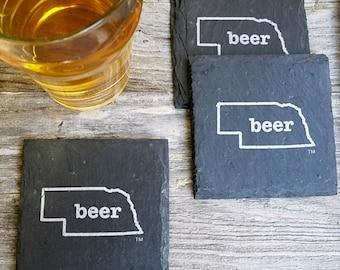 Nebraska Craft Beer Slate Coasters - Mancave, Garage, Fathers Day, Beer Lover, Husband
