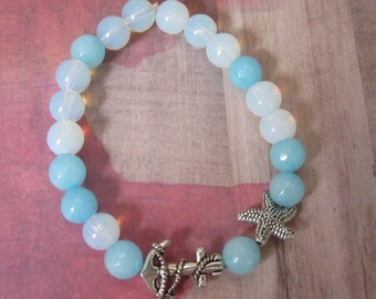 Nautical Anchor Handmade Beaded Stretch Bracelet with Starfish, Beach Blue Beads