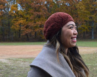 Lace Slouch Hat - Rust