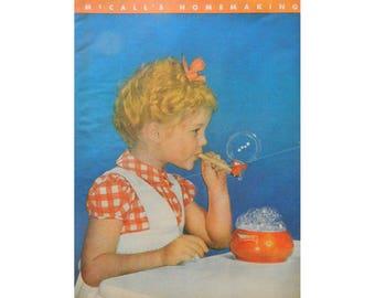 Little Girl Blows Bubbles - McCall's Magazine Illustration