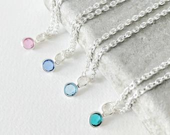 Birthstone Necklace, Birthstone Gift, Birthstone Jewellery, Birthday Necklace, Birthday Gift, Sterling Silver Birthstone Charm Necklace