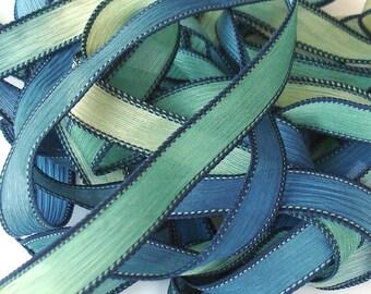 "BELOW SEA LEVEL 42"" hand dyed wrist wrap bracelet silk ribbon//Yoga wrist wrap bracelet ribbons//Silk wrist wrap ribbon// Color Kissed Silk"