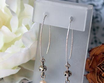 Pearl earrings, sterling silver diamond cut marquis ear wires, peach colored pearls, fresh water pearl
