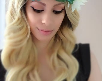 Green Flower Crown, Floral Headpiece, Flower Crown, Floral Crown, Floral Headband