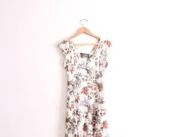 White Floral Grunge 90s Mini Dress