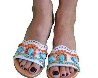 Slip on leather sandals, Leather slides, White sandals, Greek leather sandals, Bohemian sandals, Lace sandals, Slide sandals  ''Dream days''