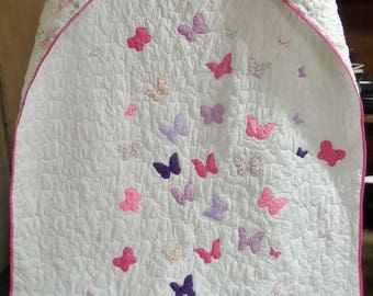 Girls twin quilt , Butterfly quilt, Personalized quilt, Twin bed quilt, Twin size quilt, Twin bed blanket, Butterfly bedding, Homemade quilt