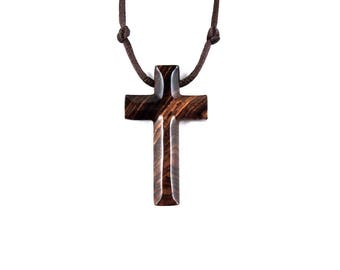 Wood Cross Necklace, Mens Cross Necklace, Wooden Cross Pendant, Mens Cross Pendant, Christian Jewelry, Hand Carved Wood Cross Pendant