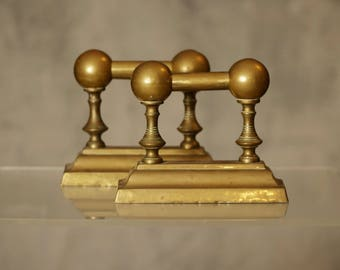 Pair of vintage brass bookends, unique ball handle bookends