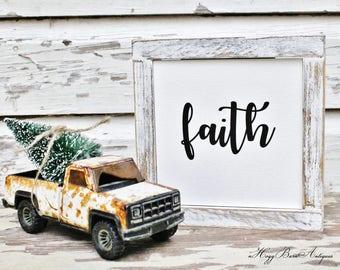 FAITH Farmhouse Sign Wood Framed CHIPPY WHITE Farmhouse Decor Fixer Upper Decor Salvaged Barn Wood Mini Christmas Sign