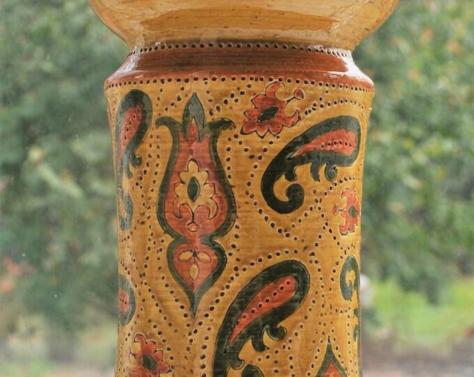 "Italian Aldo Londi Paisley Vase Extra Large 14"" Rosenthal Netter Bitossi Raymor"