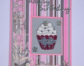 Happy Birthday - Handmade Greeting Card - Microfine Glitter