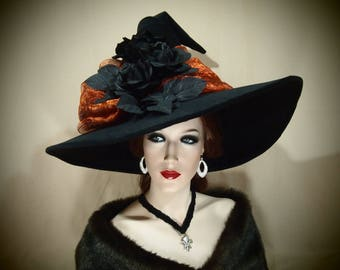 """Witch Hat """"Magical Garden"""" one of a kind adult costume hat"""