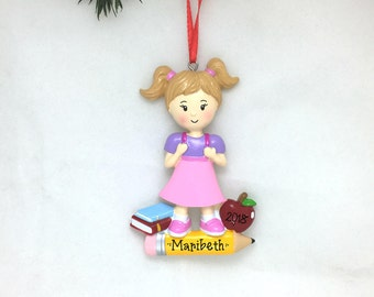 First Day of School Personalized Christmas Ornament / Little Girl / School Ornament/ Hand Personalized