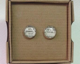 1963 French Dictionary Stud Earrings - Ocean