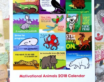 "Inspirational  2018 A4 monthly wiro-book  ""Motivational animals"" wall calendar"