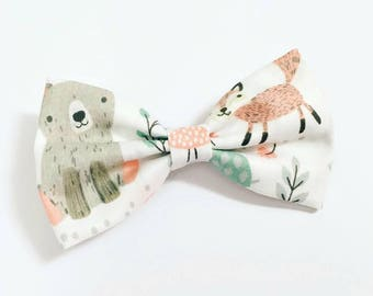 Cute Forest Animals Fabric Bow Clip