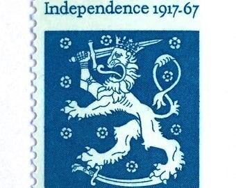 10 U.S. Vintage Finland Crest Postage Stamps // Finland Independence // Vintage Blue 5 Cent U.S. Stamps for Mailing