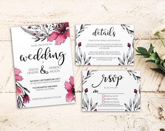 Printable Wedding Suite Editable PDF Fuchsia Tropical Wedding DIY Invitation Details RSVP Instant Download Minimal Pink Floral Wedding Suite