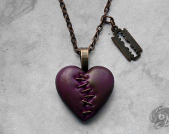 Goth horror 'This Love' stapled heart & razor blade necklace // Violet + copper loveheart + chain // Macabre Horror Punk Gothic jewelry gift