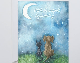 With Heartfelt Sympathy - Pet Sympathy Card - Pet Loss - Pet Death - Dogs & Cats