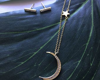 To the Moon and Back Set - Gold Plated over Sterling Silver, Cubic Zirconia
