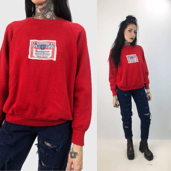 Budweiser Patch Pullover Sweatshirt Small Womens Upcycled Remade Top - BUD Beer Logo Red VTG Jumper Sweater - Vintage Patched BUD Sweatshirt