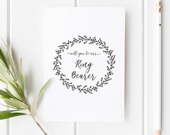Will you be Our Ring Bearer Card // Wedding Role Proposal Card // Wedding Duty Request // Hand Drawn Wreath // Rustic  // Boho wedding