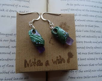 Pretty Amethyst & Swarovski Crystal leaf Earrings