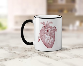 Anatomical Heart Coffee Mug, Vintage Medical Illustration Coffee Cup, Anatomy Horror Mug, Sublimated 11 oz, Colored Handle & Rim, 4 Colors