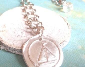 Wax Seal Sailboat Pendant, Contemporary Wax Seal Necklace, Fine Silver Wax Seal Necklace