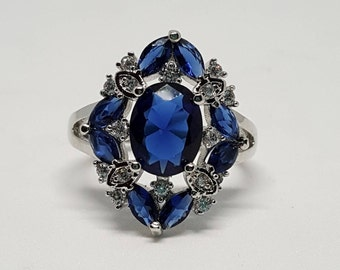 Sapphire and White Topaz Silver Ring