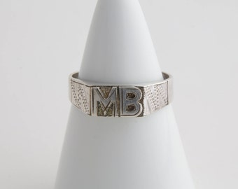 Antique French sterling silver Signet ring / signet ring / Heavy signet ring / French signet / initials signet ring / stamp ring / MB / 2114