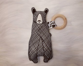 Bear Teether. Baby Toy. Plushie. Baby Teether. Thicket Fabric. READY to SHIP