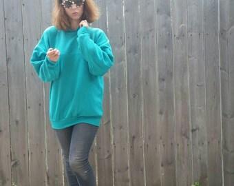 Vintage 1980s Retrofuturistic Cyberpunk Ribbed Teal Green Collared Sweatshirt