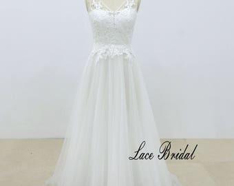 Iovry Sexy Deep V Neckline Wedding Dress, Vintage Lace Wedding Dress, Bohemian wedding dress, Summer wedding dress