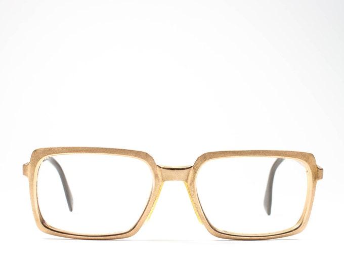 Vintage Glasses | 60s Eyeglasses | Gold Metzler Eyeglass Frame | Rectangle Horn Rim Eyeglass Frame | 1960s Deadstock - Rekt