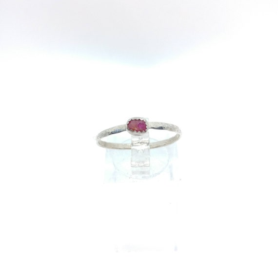 Ruby Stack Ring   Sterling Silver Ring Sz 9.5   Raw Ruby Ring   Raw Stone Ring   Gemstone Ring   July Birthstone Ring  Ruby Stacking Ring