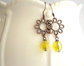 Summer yellow earrings, Flower earrings, Handmade earrings, Dangle earrings, Bohemian earrings, gift for her, Under 20 dollar, Boho, Vintage