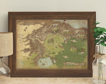 The Legend Of Zelda (Hyrule Ocarina Of Time) - Giclée Map