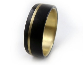 Naval Bronze Ring, Gaboon Ebony Ring, Exotic Wood Ring, Gold Wood Ring, Handmade Jewelry, Black Ring, Black Wood Ring, Black Gold Ring