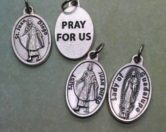 St Juan Diego holy medal - 3 styles - one w Our Lady of Guadalupe - Catholic saint, Cuauhtlatoatzin, Mexico City, visionary, tilma, roses
