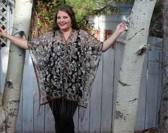 Brown Rose Burnout Velvet Shawl Top